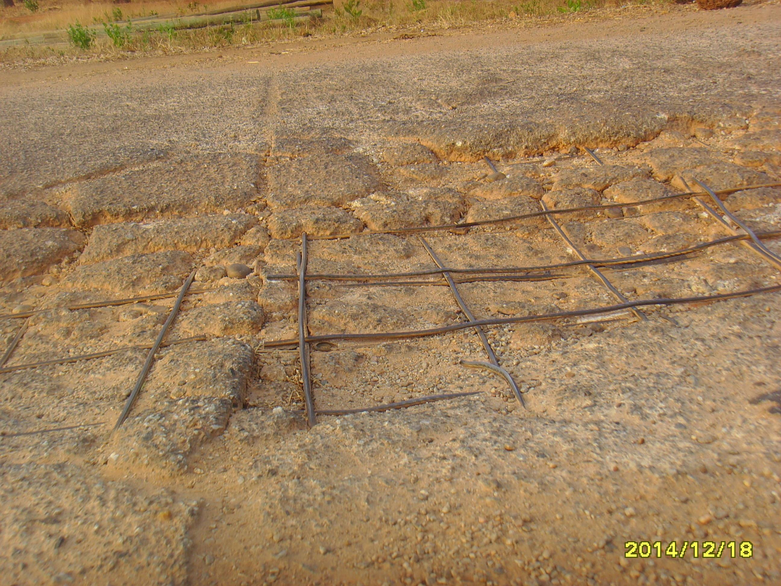 exposed iron rods