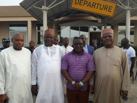 araba State Acting Governor Alhaji Sanni Abubakar Danladi and the states former Governor Rev. Jolly T. Nyame receiving TAN officials on arrival at the Jalingo airport for the flag off of the distribution of relief materials to Internally Displaced Persons(IDP); orphanages; Army and Police formations in Taraba State.
