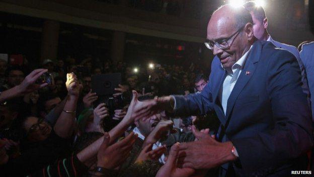 Moncef Marzouki at a presidential rally in Tunisia