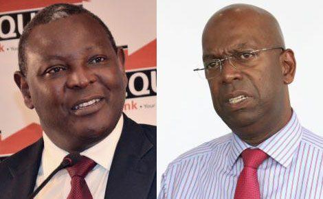 Equity bank CEO James Mwangi (left) and Safaricom?s Bob Collymore