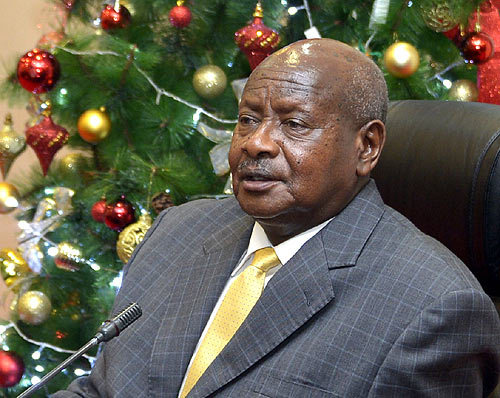 President Museveni delivering his Christmas message to Ugandans from State House, Entebbe on Tuesday. (Photo credit: PPU)