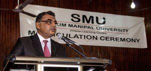 Dr. Abhishek Tyagi, Rector of Sikkim Manipal University speaking at the ceremony.
