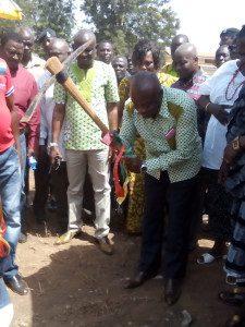 Mr Adjei breaking the ground