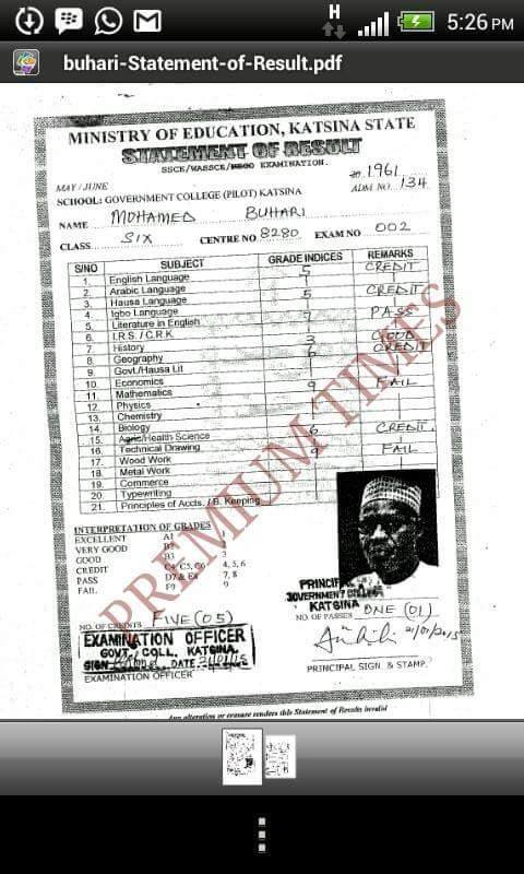 Buhari's Cambridge result