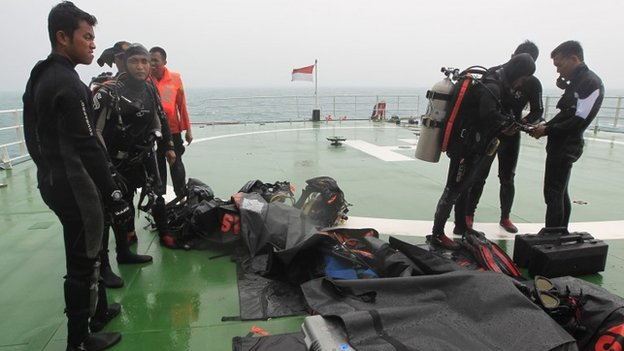 """On Sunday divers found """"zero visibility"""" as they went down to investigate debris"""