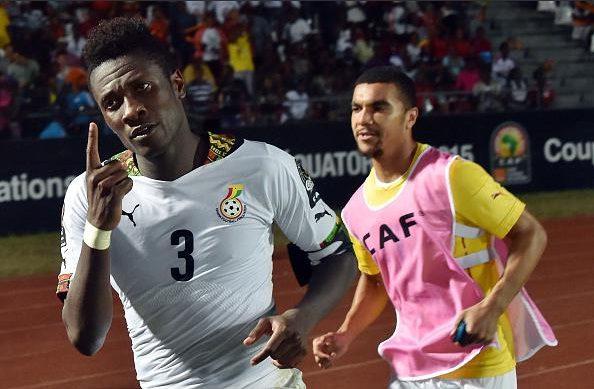 Asamoah Gyan celebrates his last gasp winner against Algeria