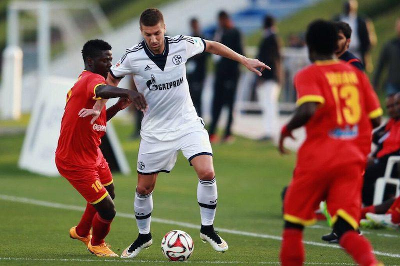 Augustine Okrah (number 13 jersey) playing for Al Merreikh