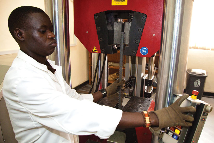 A standards official tests an iron bar for quality. Rwanda Standards Board it is working with REB on the possibility of introducing studies on standards in schools. (File)