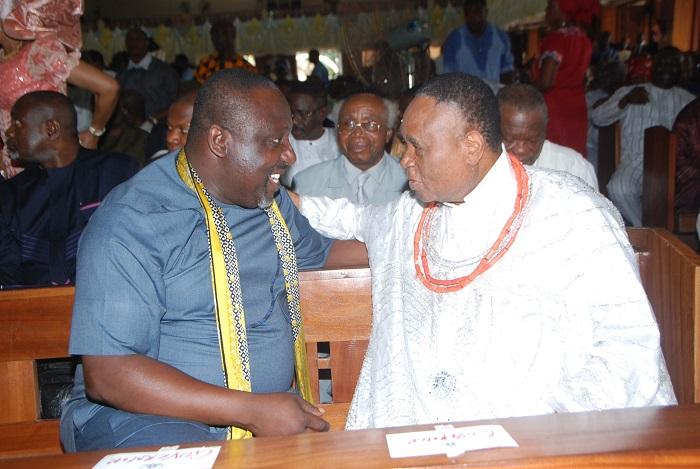 Imo State Gov Owelle Rochas Okorocha with Chief Gabriel Igbonudon, [Esema of Benin] during the 75th birthday ceremonies of the National chairman of APC, Chief John Oyegun at Benin recently