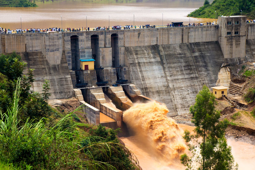 Water gushes from a sluice of Nyabarongo Hydro Power Plant last year. (Timothy Kisambira)