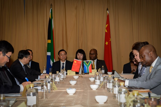 Luo Shugang (L, center), Chinese Minister of Culture of China, meets with Nathi Mthethwa (R, center), minister of the Department of Arts and Culture of South Africa, in Pretoria, South Africa, on March 15, 2015. (Xinhua/Zhai Jianlan)