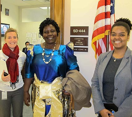 The writer, Gladys Kalibbala (C), with some Congress members at Capitol Hill in Washington D.C.