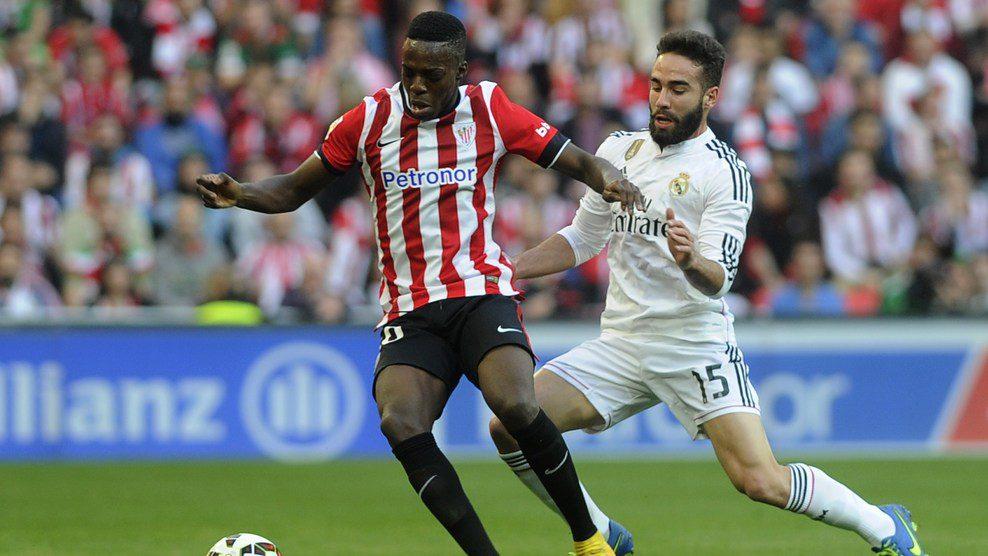 Inaki Williams in action against Real Madrid's Dani Carvaja