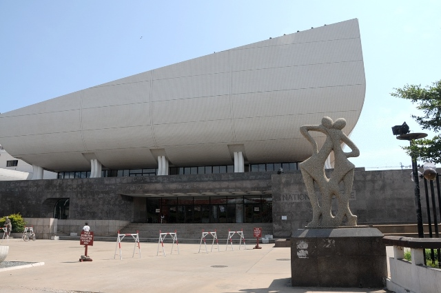 Photo taken on Sept. 15 shows the outside view of part of the National Theatre of Ghana in downtown Accra, Ghana. As a landmark in Accra, the National Theatre of Ghana that was completed in 1992, was built under loans by Chinese government. (Xinhua/Lin Xiaowei)