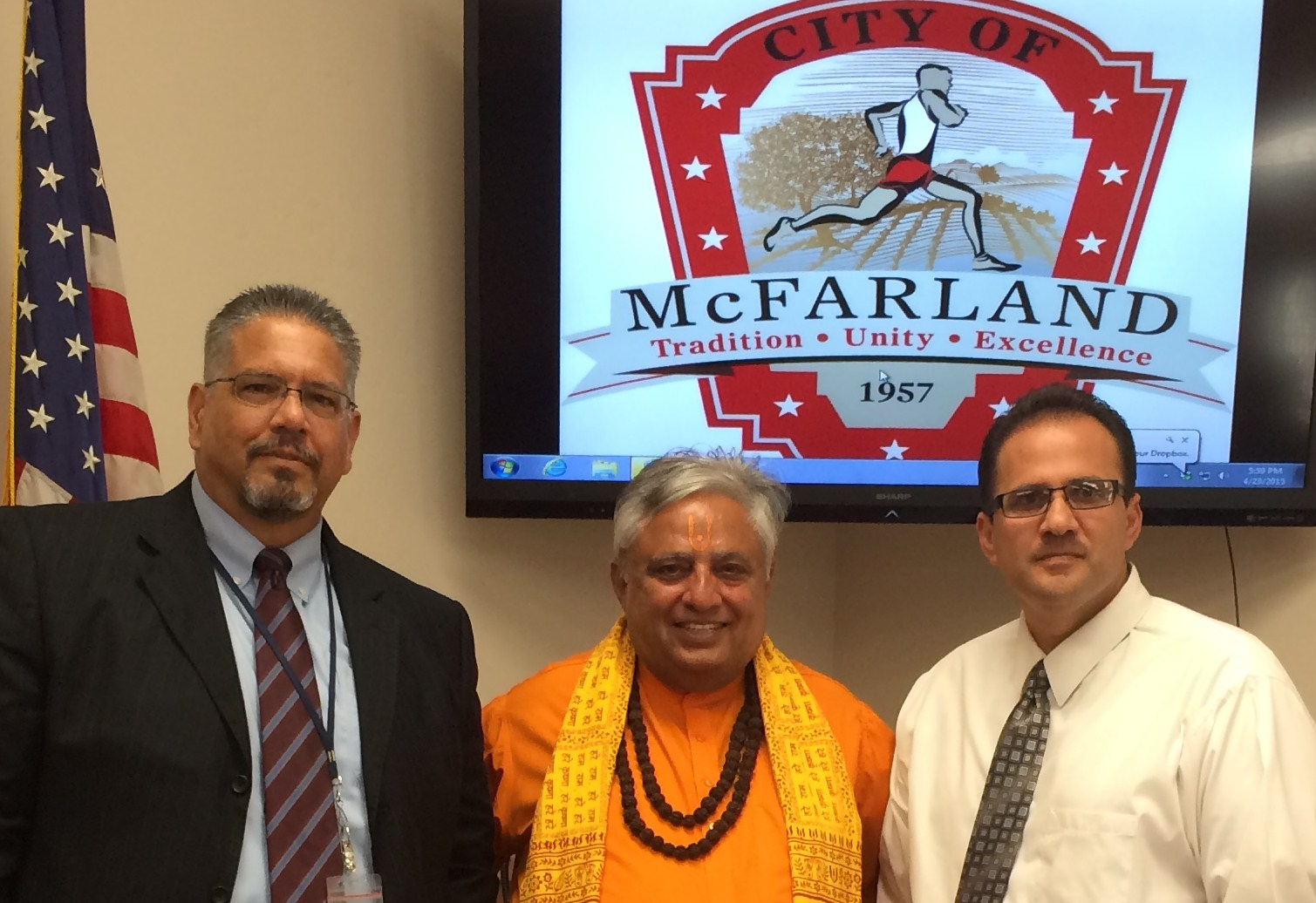 Just before the McFarland City Council Hindu invocation, from left to right are?City Manager John Wooner, Hindu statesman Rajan Zed and Mayor Manuel Cantu Junior.