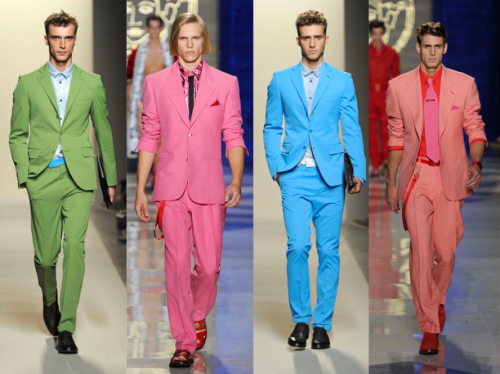Men wearing trending bright coloured suits | News Ghana