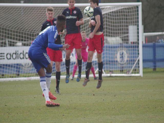 Richard Nartey taking a free-kick for Chelsea