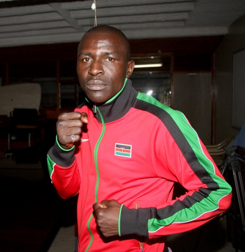 Kenya Professional boxer Nick Abaka poses for picture before leaving for Turkey for a boxing event. PHOTO/DENNIS OKEYO