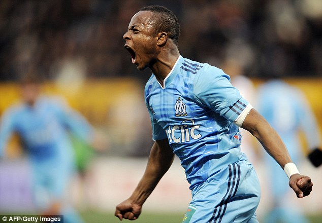Ayew celebrates after scoring for Marseille in a French league game with Nancy back in February 2011