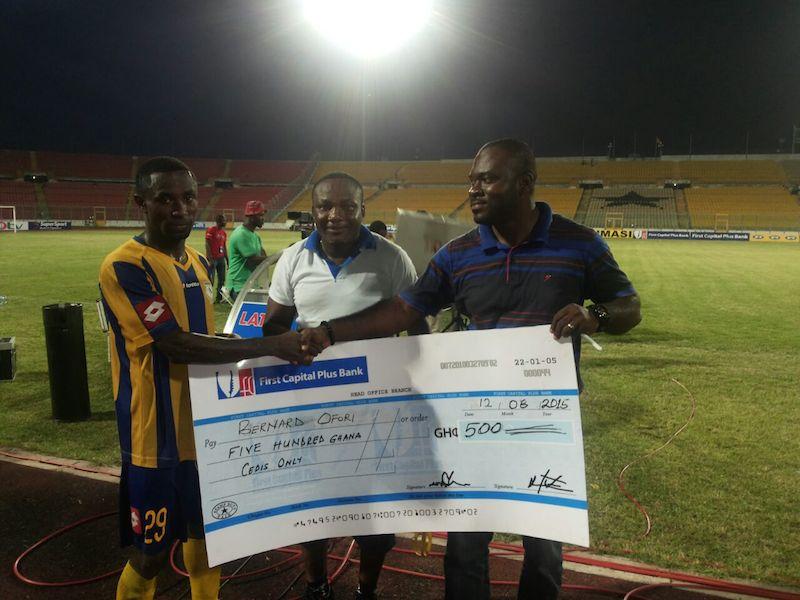 Bernard Ofori receiving his award.