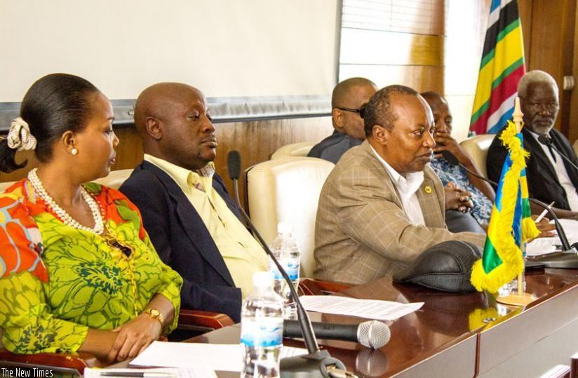 EALA members address journalists in Kigali yesterday. (Fernand Mugisha)