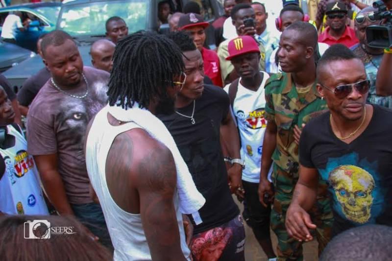 Emmanuel Adebayor with Asamoah Gyan before depature
