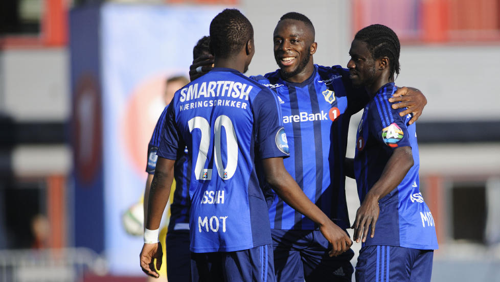 Ernest Asante celebrates his goal for Stabaek