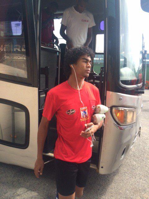 Mauritius team upon arrival at the Accra Sports Stadium