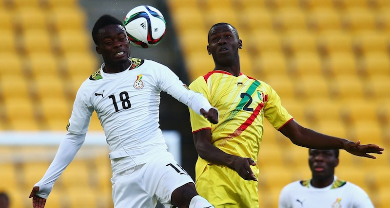 Barnes Osei (L) of Ghana jumps for a header with Mohamed Diallo of Mali during the FIFA U-20 World Cup New Zealand 2015 Round of 16 match between Ghana and Mali at Wellington Regional Stadium on June 10, 2015 in Wellington, New Zealand.
