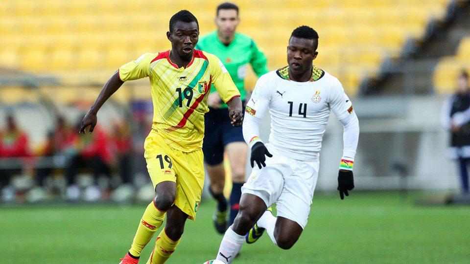Adama Traore of Mali breaks away from Joseph Aidoo of Ghana during the FIFA U-20 World Cup New Zealand 2015 Round of 16 match between Ghana and Mali at Wellington Regional Stadium on June 10, 2015 in Wellington, New Zealand.