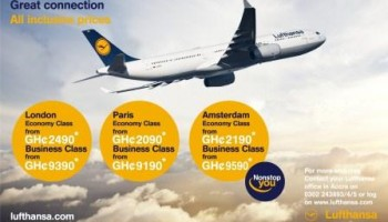 Lufthansa Ghana offers lowest fares