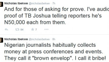 T.B Joshua's bribing journalists tape out !