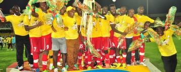 Kotoko officials presenting the league trophy to Hon. Samuel Sarpong