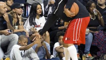 Rihanna Watches Chris Play Basketball